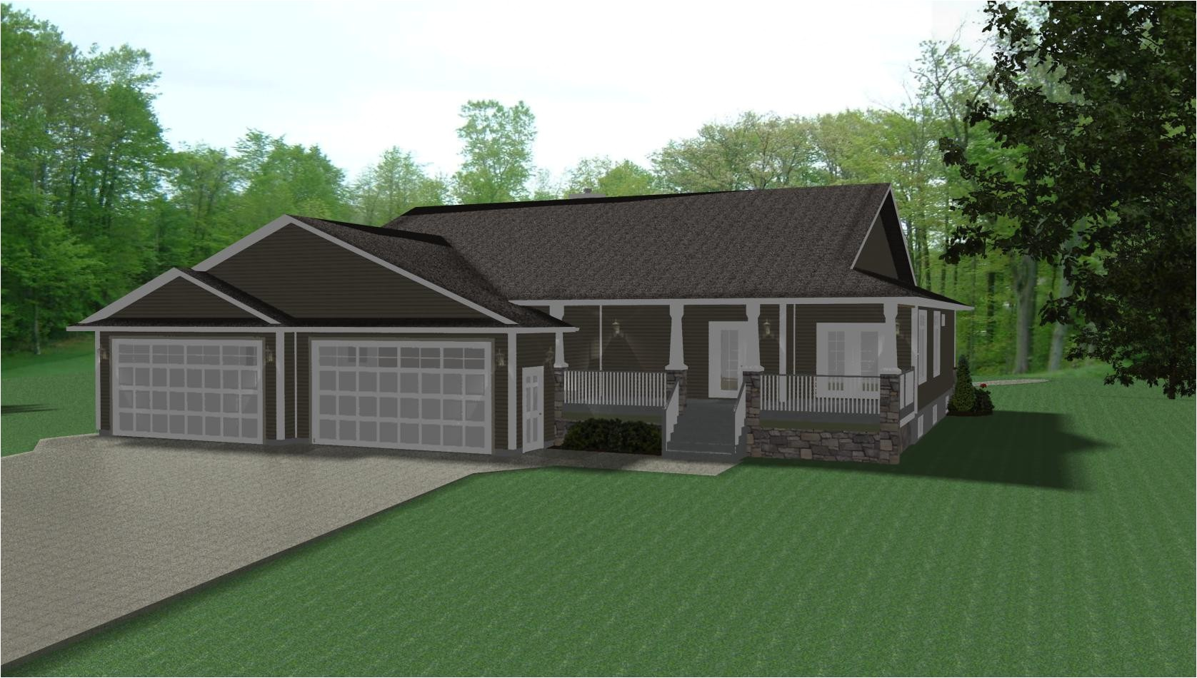 ranch house plans 3 car garage