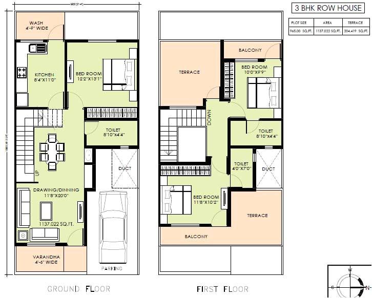 detached row house plans
