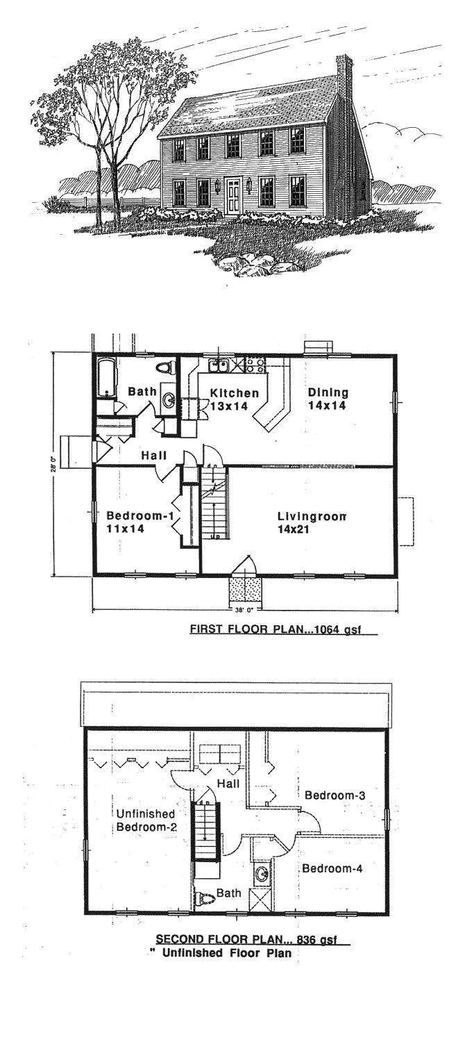 Saltbox Home Plans Saltbox House Plan 94007 total Living area 1900 Sq Ft