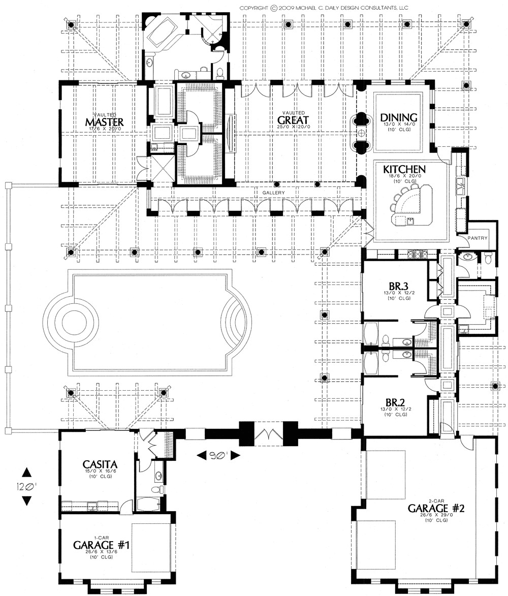 Santa Fe Style Home Plans Courtyard Home Plans Homedesignpictures