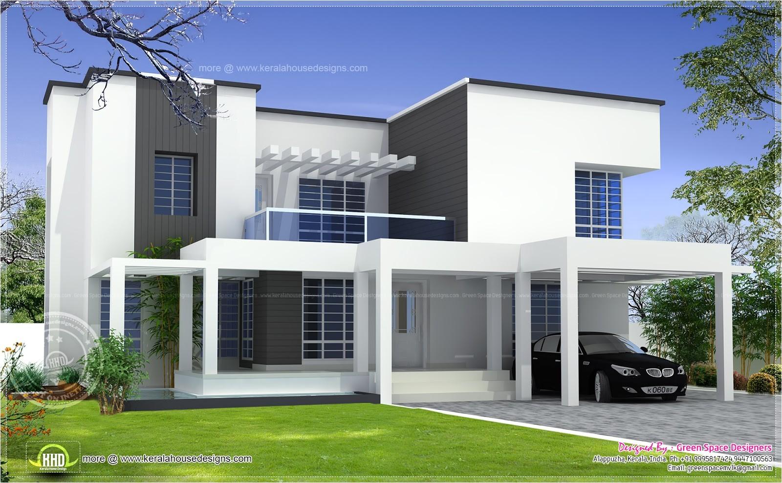 based box type modern home design kerala floor plans 2