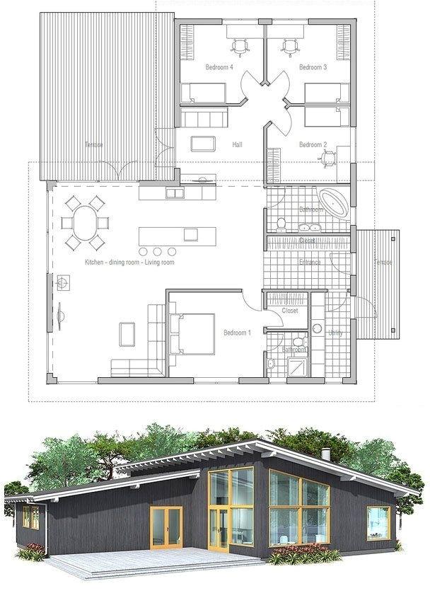 single roof line house plans