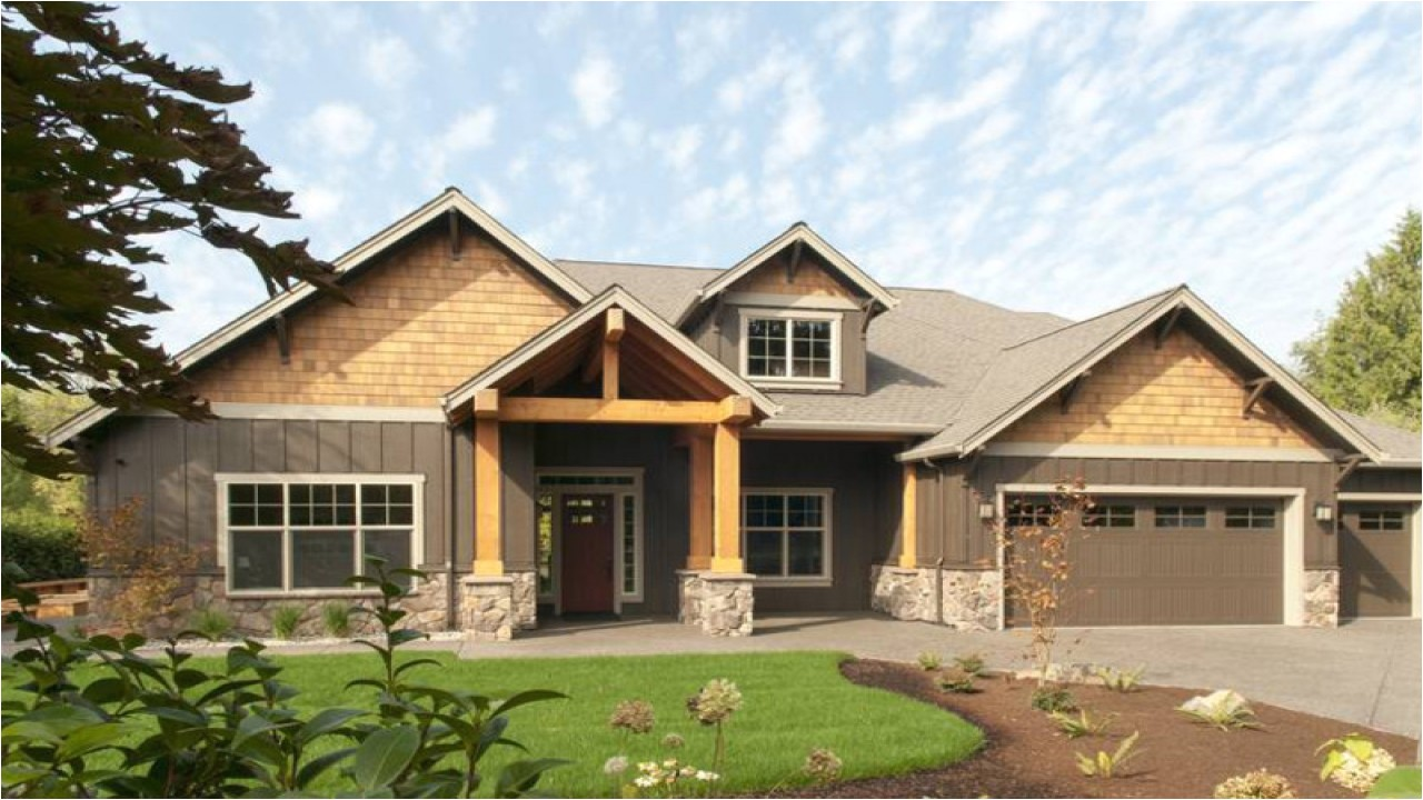 Single Story Craftsman Home Plans Modern One Story Ranch House One Story Craftsman House