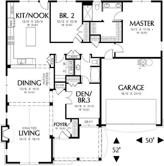 single story cottage plan with two car garage 69117am