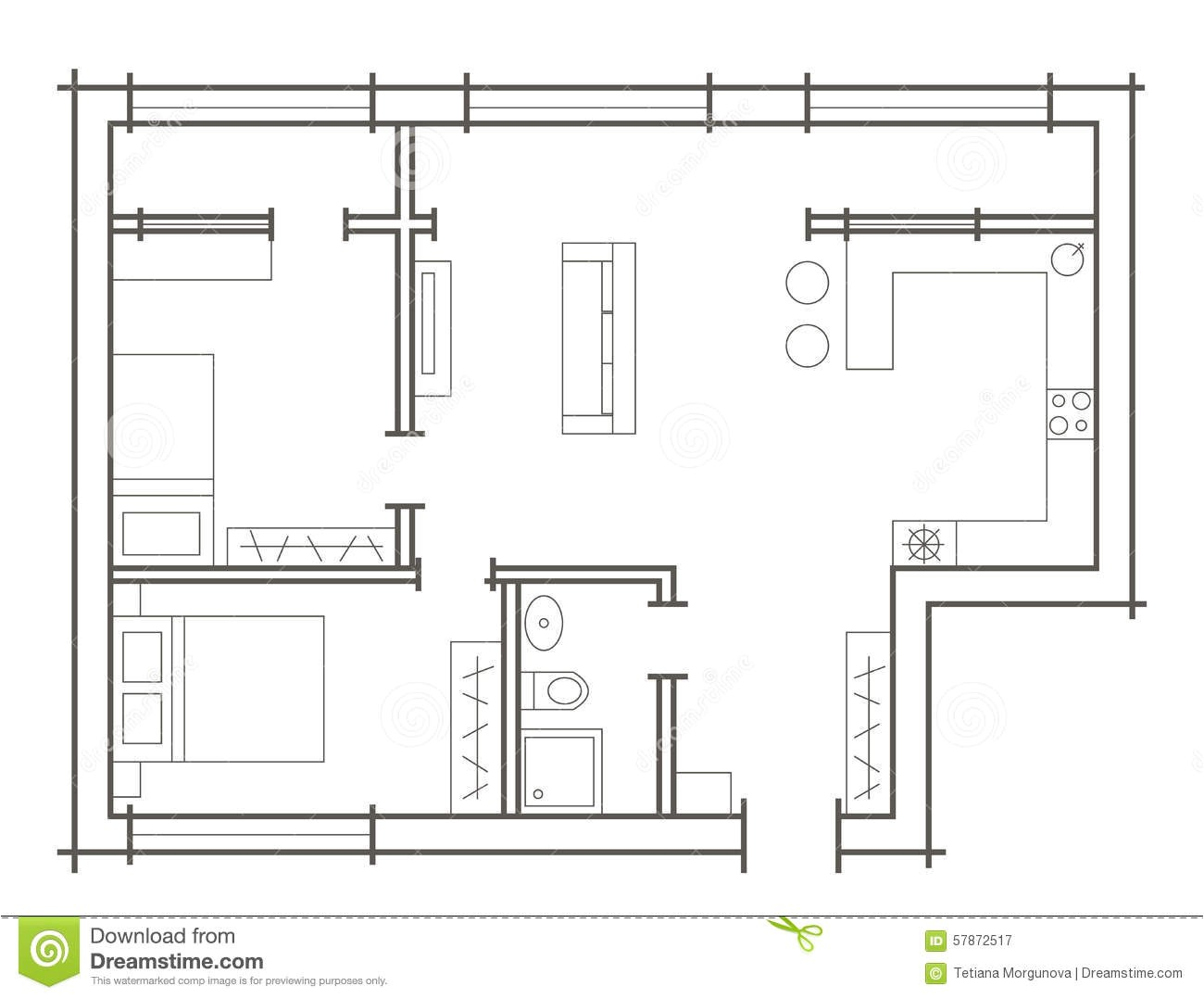 stock illustration plan sketch two bedroom apartment linear architectural image57872517