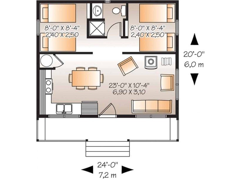 sketch plan for 2 bedroom house