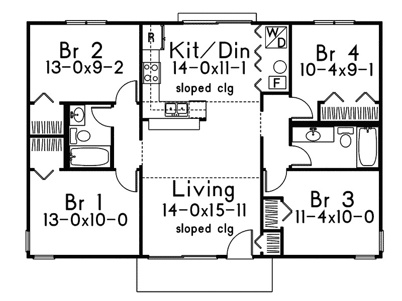 slab on grade small house plans