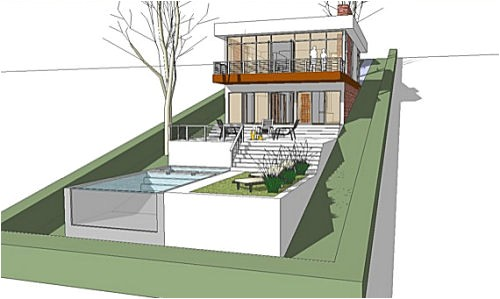 modern house plan for a land with a big downhill slope