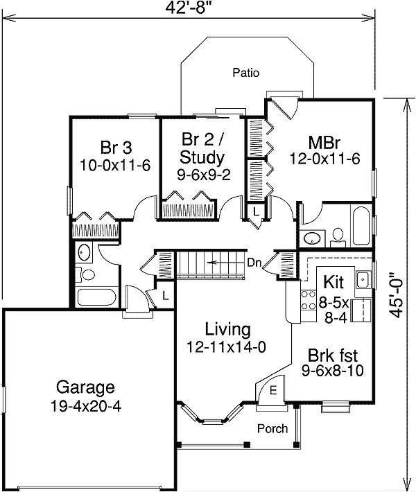 excellent home plan for a small family 57040ha