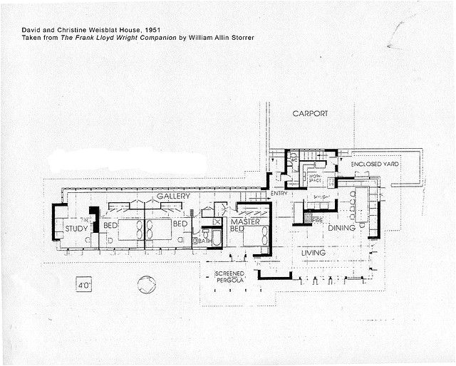 Small Frank Lloyd Wright House Plans David and Christine Weisblat House Plan 1951 Frank