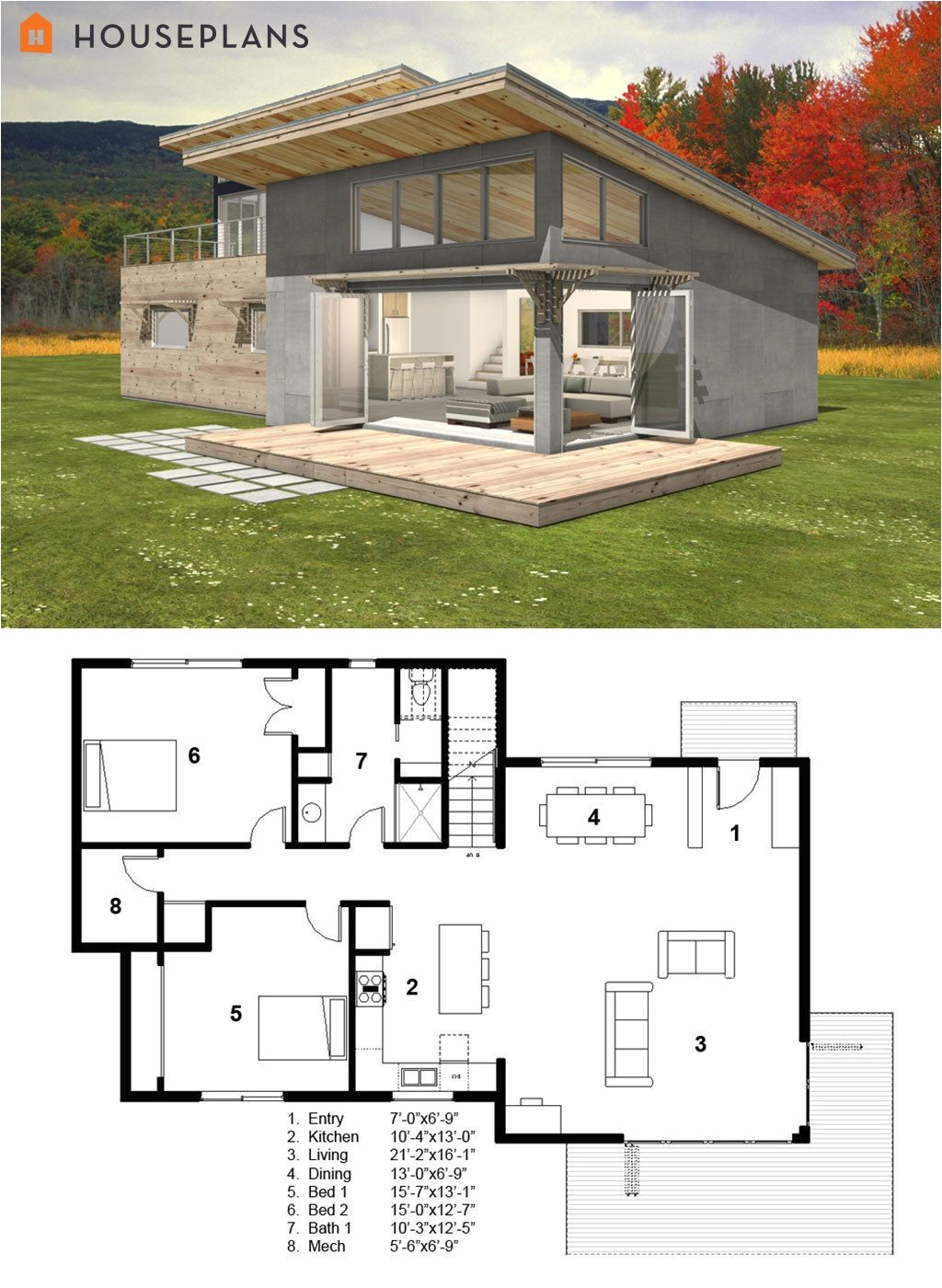 Small Home Plans Modern Small Modern Cabin House Plan by Freegreen Energy
