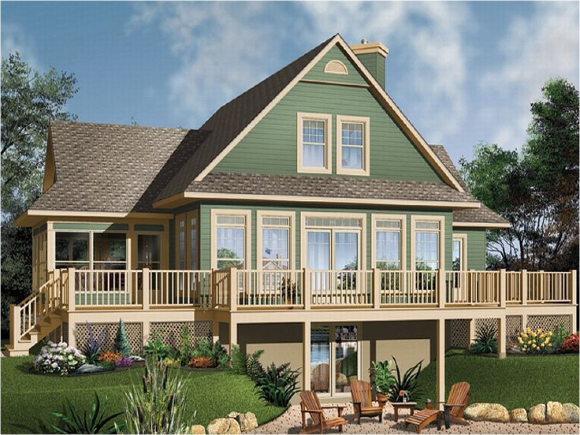 Small Waterfront Home Plan Waterfront House Floor Plans Small House Plans Walkout