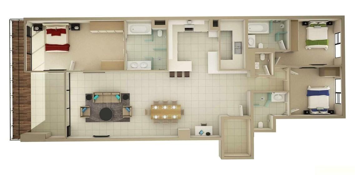 large 3 bedroom floor plans for home