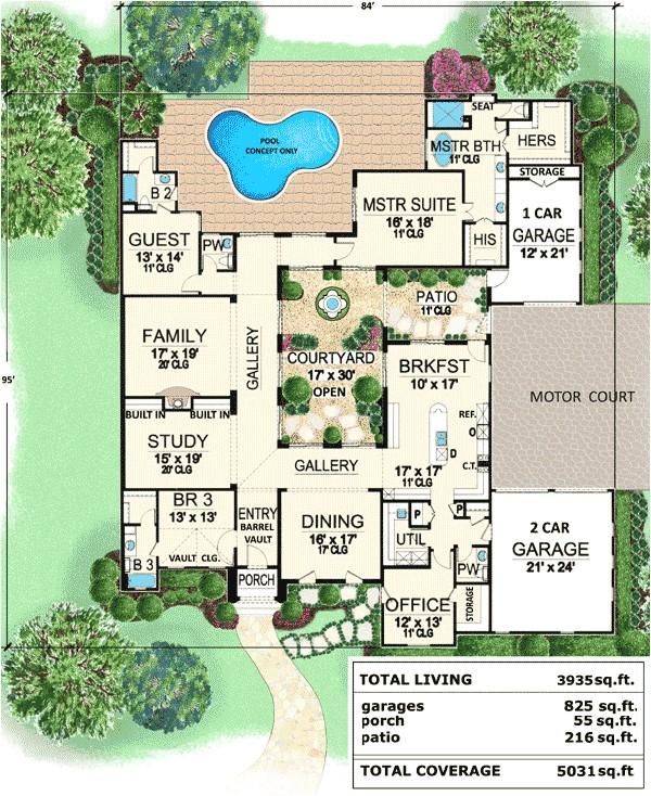 center courtyard house plans tuscan luxury european spanish house plans home designs