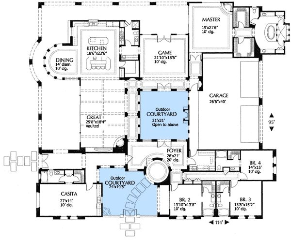 Spanish Home Plans Center Courtyard Pool Plan 16315md Mediterranean Villa with Two Courtyards