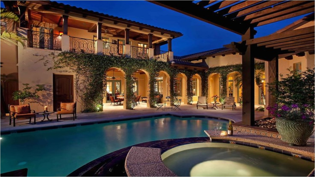 Spanish Home Plans Center Courtyard Pool Spanish Style Home With