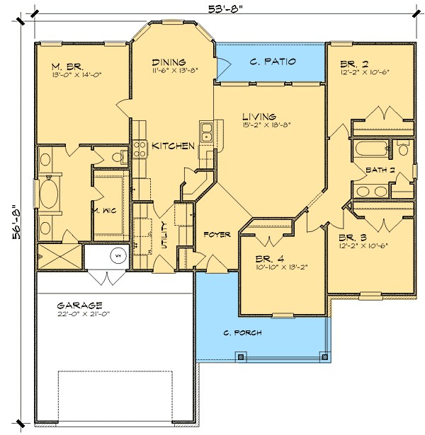 split bedroom ranch house plan 36837jg