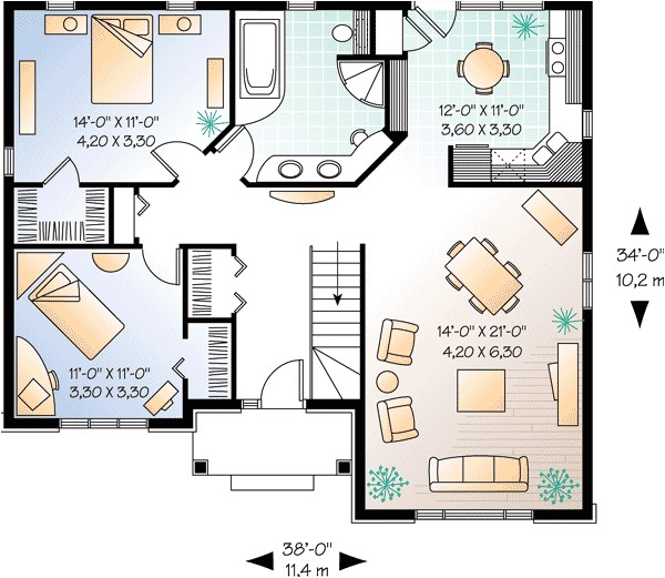 tidy 2 bedroom starter house plan 21254dr