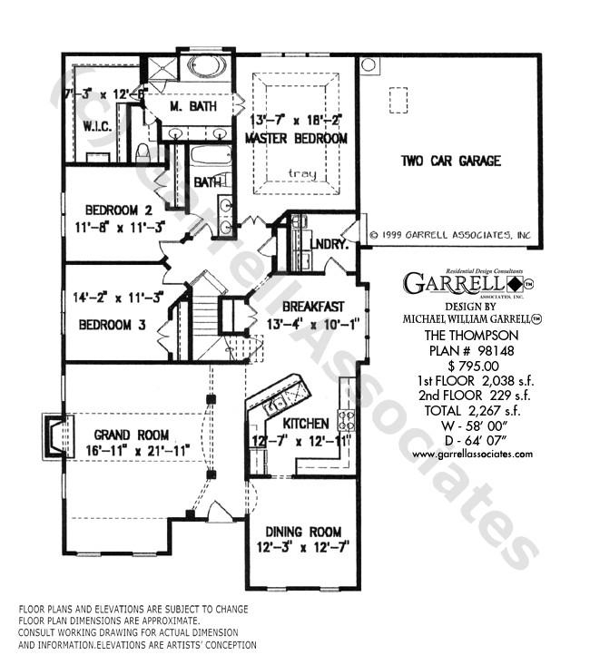 Thompson House Plans Thompson House Plan House Plans by Garrell associates Inc