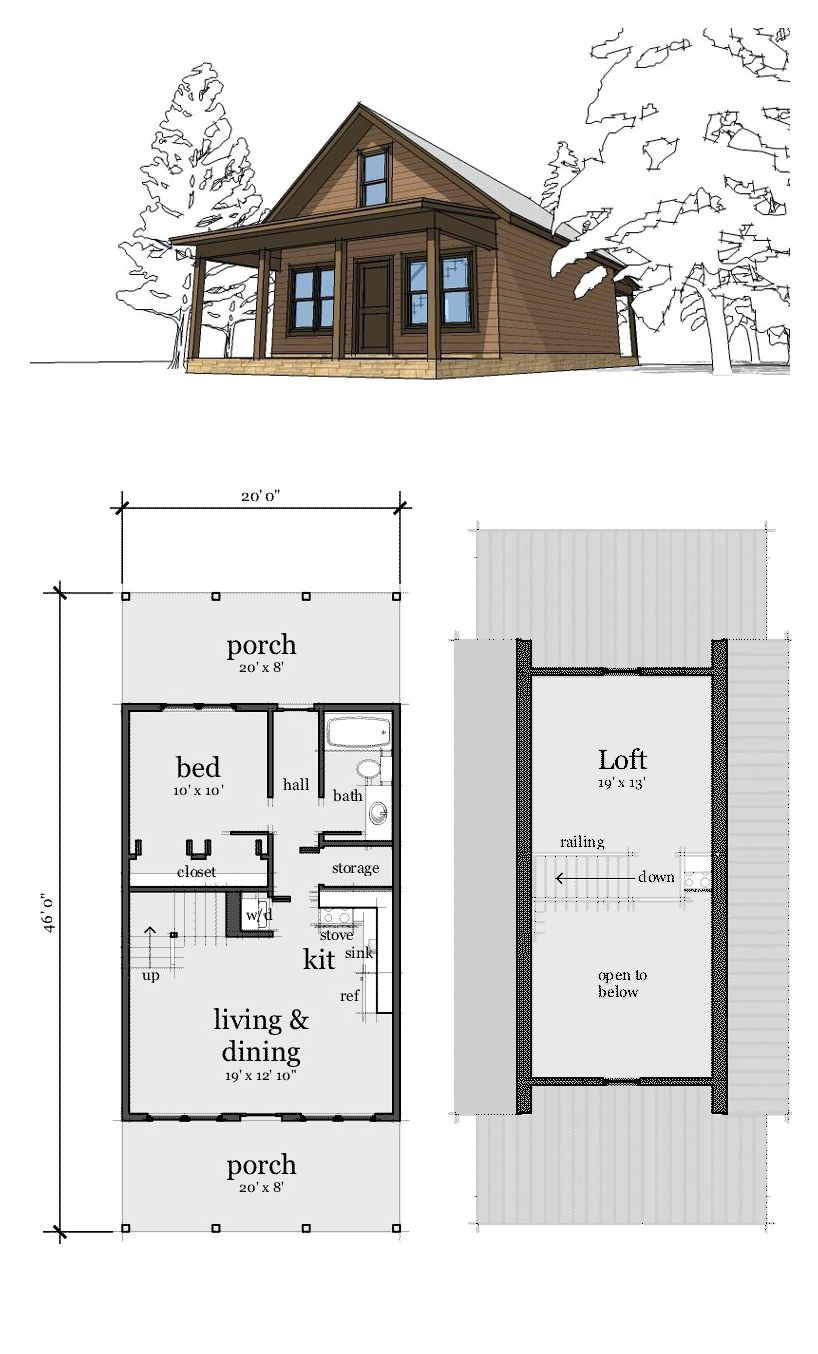 Tiny Home Plans with Loft Narrow Lot Home Plan 67535 total Living area 860 Sq Ft