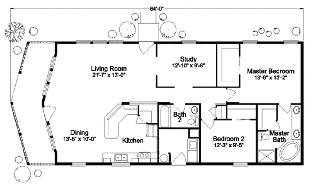 tiny house floor plan with two bedrooms complete with bathroom and kitchen the position is also convenient and effective terrace