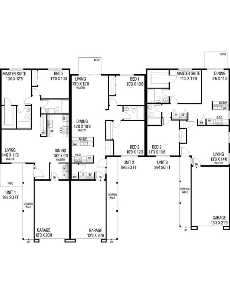 traditional duplex and triplex house plans