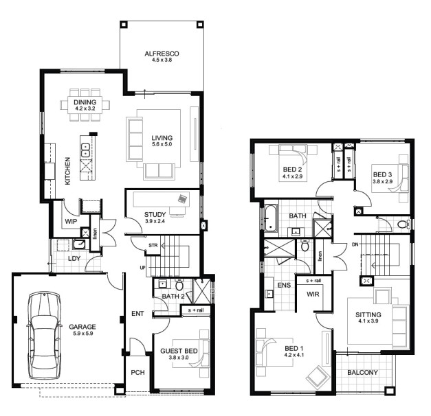 Two Floor House Plans and Elevation Two Storey House Floor Plan and Elevations House Floor Plans