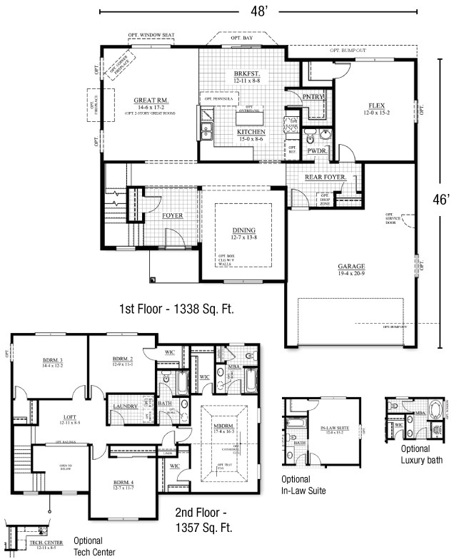 2 story house plans with master on floor
