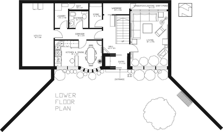 earthsheltered passive home plan
