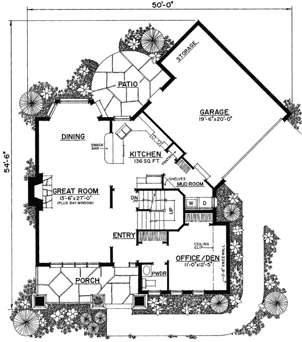 unique floor plan hides garage 43040pf