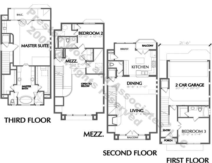 urban townhouse floor plans townhome town house