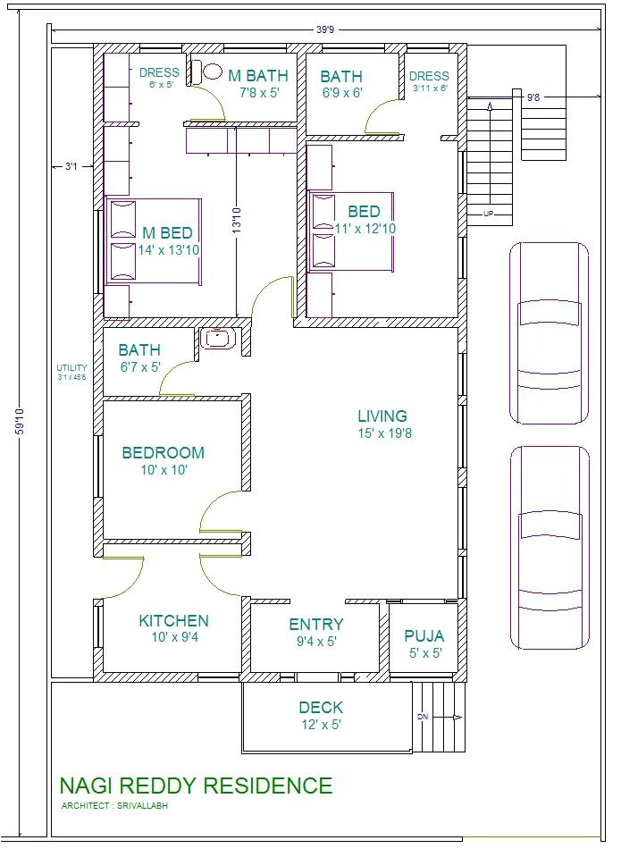 1 bhk east facing vastu home plan