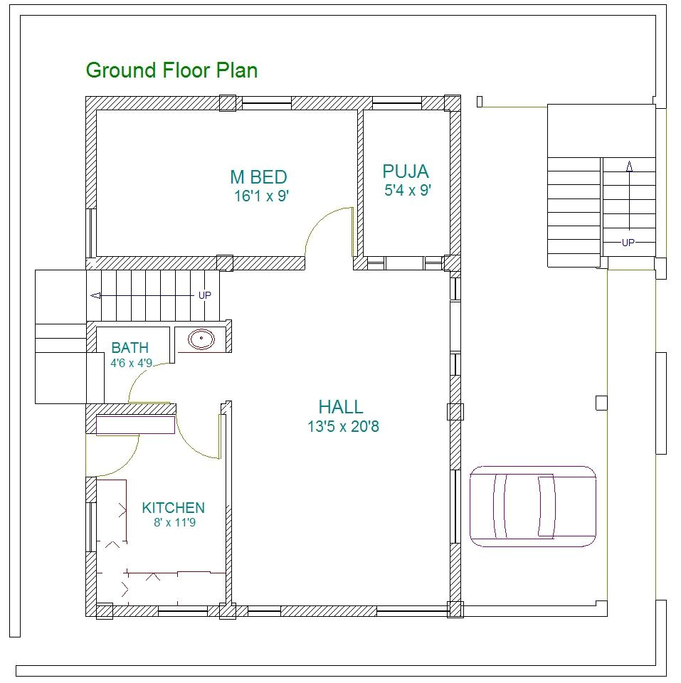 east facing double bedroom house plans as per vastu