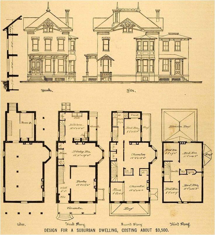 Victorian Homes Floor Plans Vintage Victorian House Plans 1879 Print Victorian House