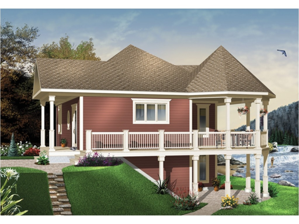 Water Front Home Plans Waterfront House Plans with Walkout Basement Mediterranean