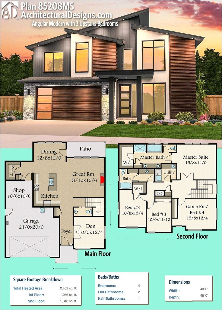 modern house plans architectural designs modern house plan 85208ms gives you 4 beds and over 2400