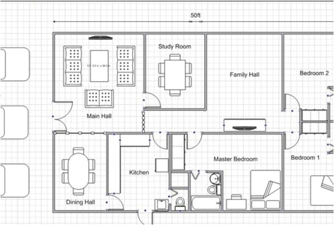 fascinating floor plans ilustrations of drawing plans online with double master beds near with lounge and dining room