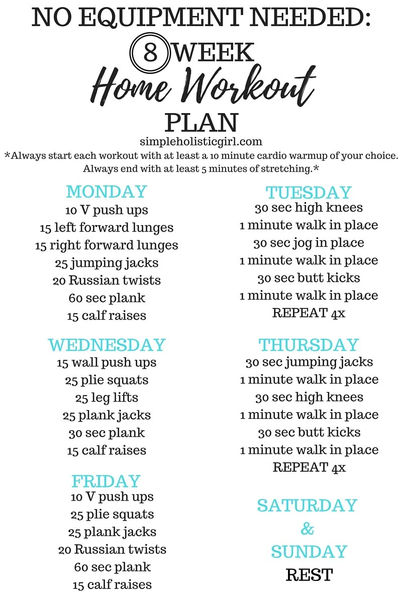 no equipment needed 8 week home workout plan