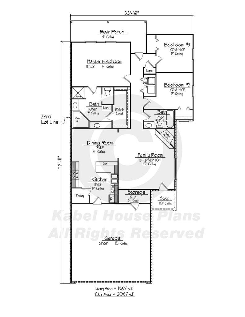 zero lot house plans