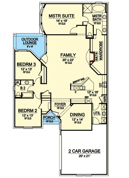 zero lot line narrow house plan 36411tx
