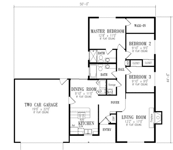 1150 square feet 3 bedrooms 2 bathroom traditional house plans 2 garage 14657