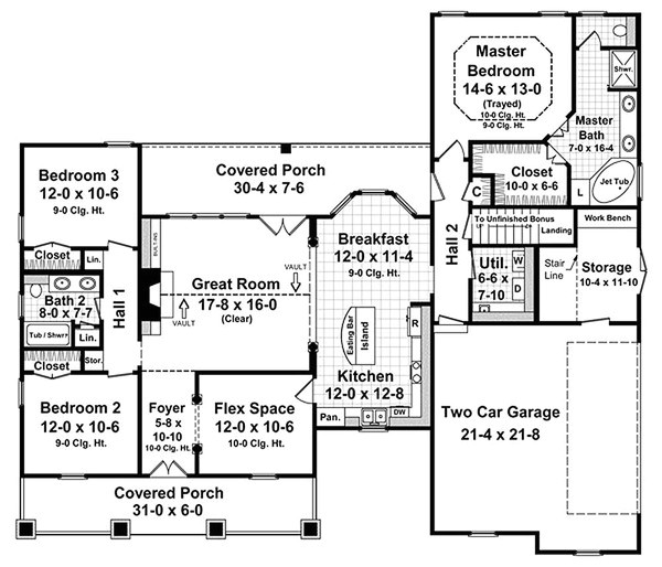 1800 square feet 3 bedrooms 2 bathroom european house plans 2 garage 24851