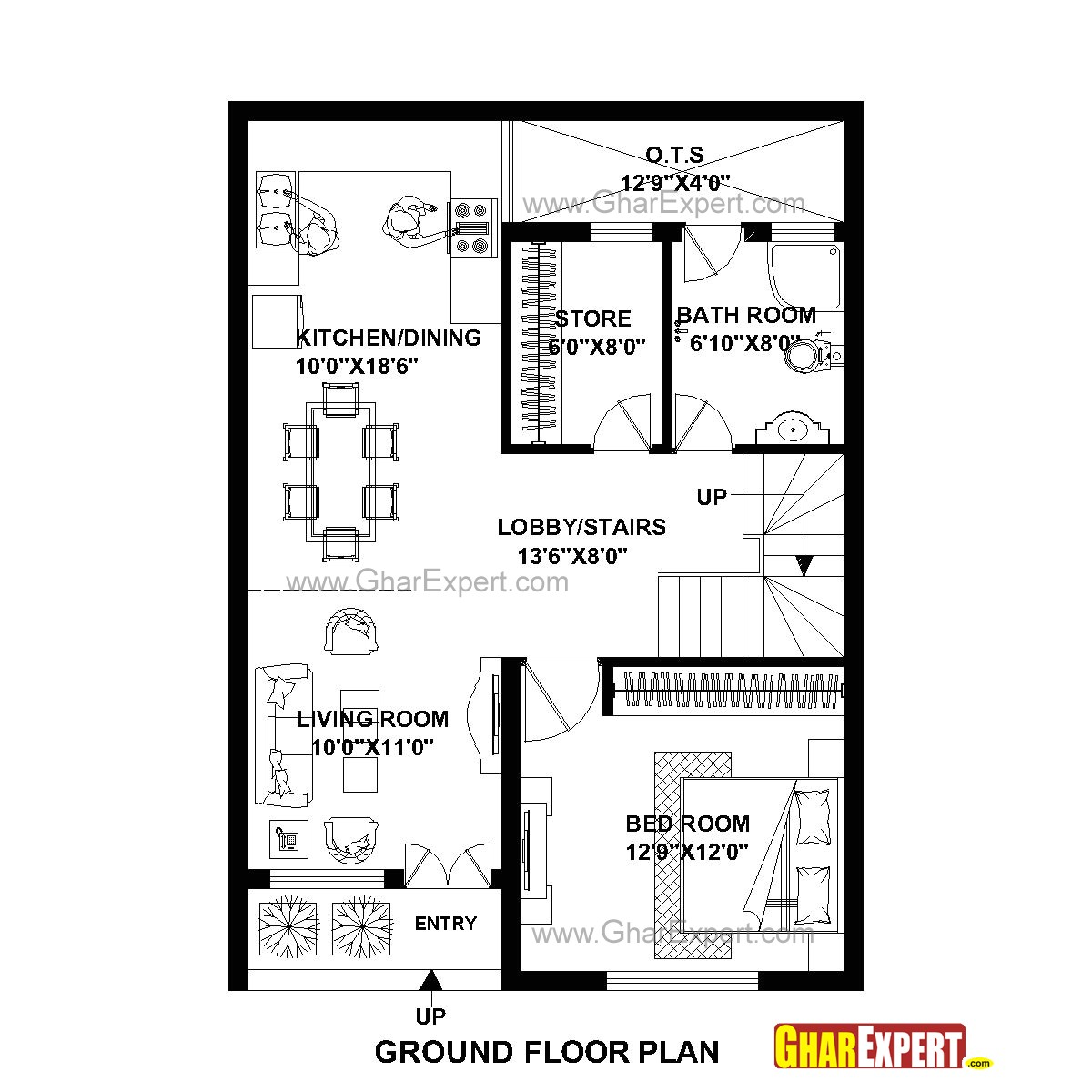 plan for 25 feet by 35 feet plot plot size 97 square yards plan code 1647