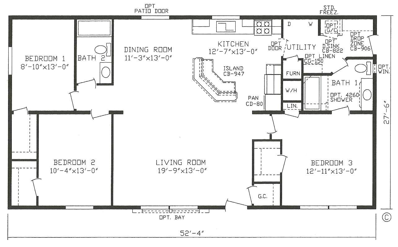 3 bedroom 2 bathroom open floor plans