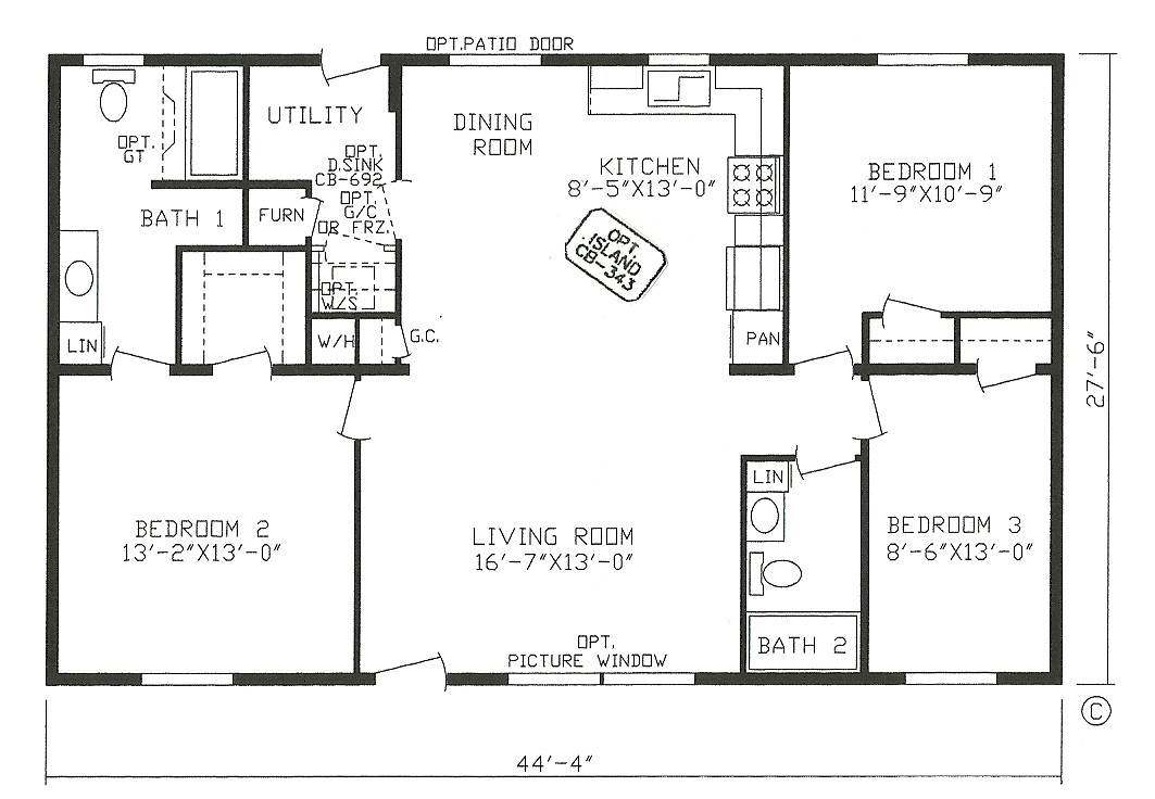 3 bedroom open floor house plans regarding inviting