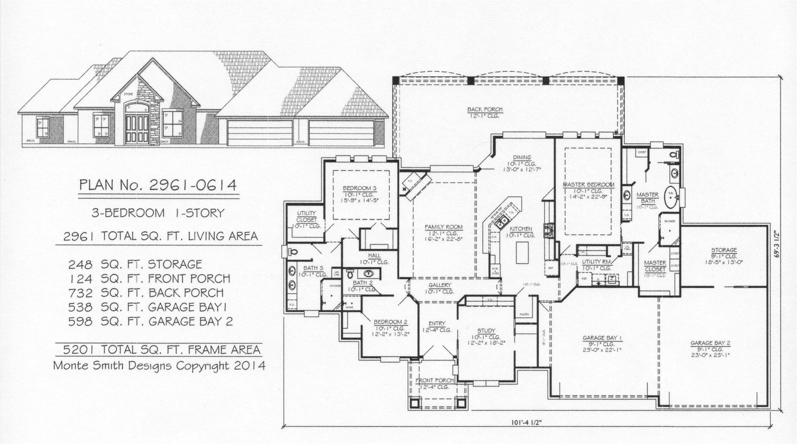 3 car tandem garage house plans