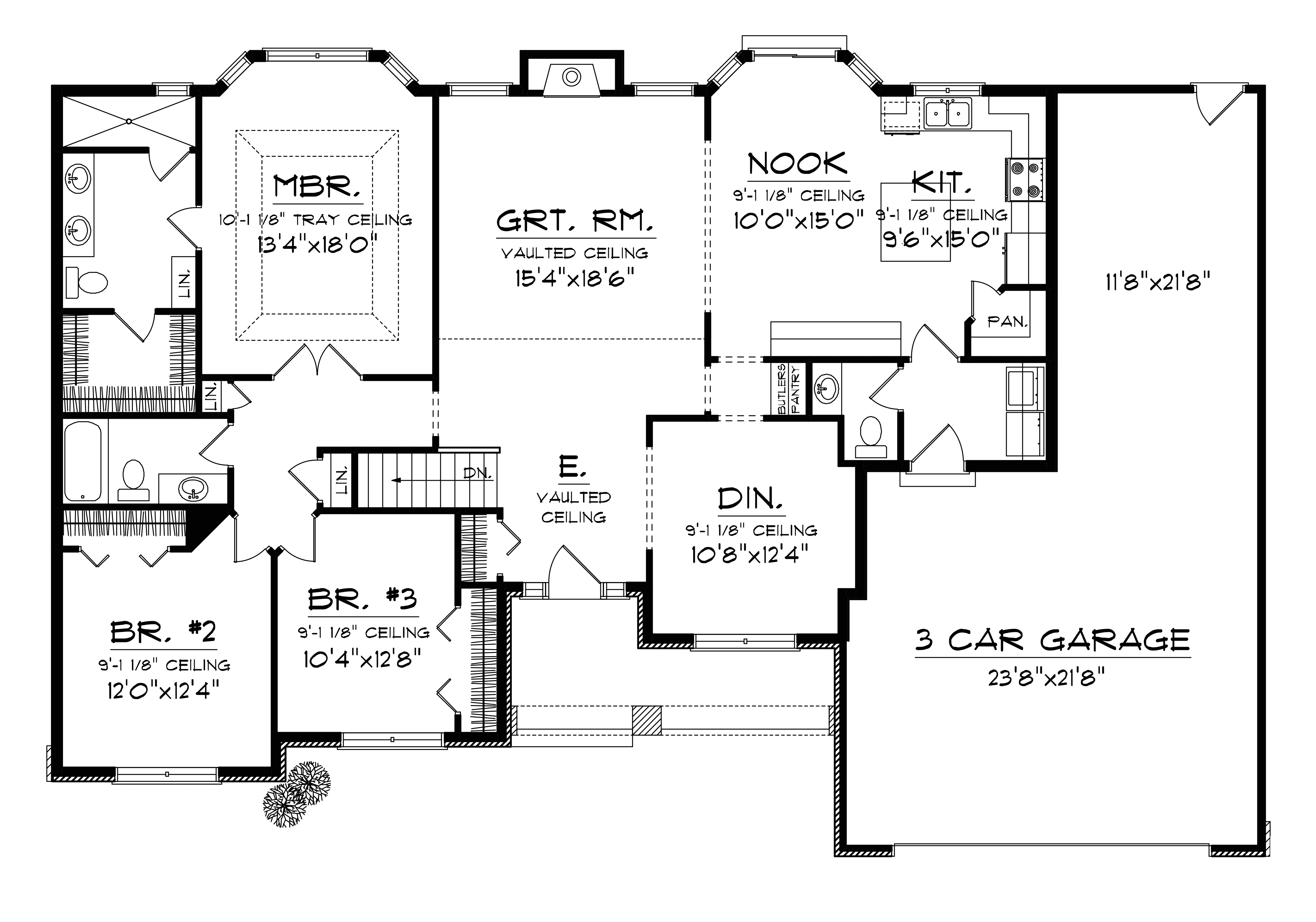 ranch house plans with 3 car tandem garage