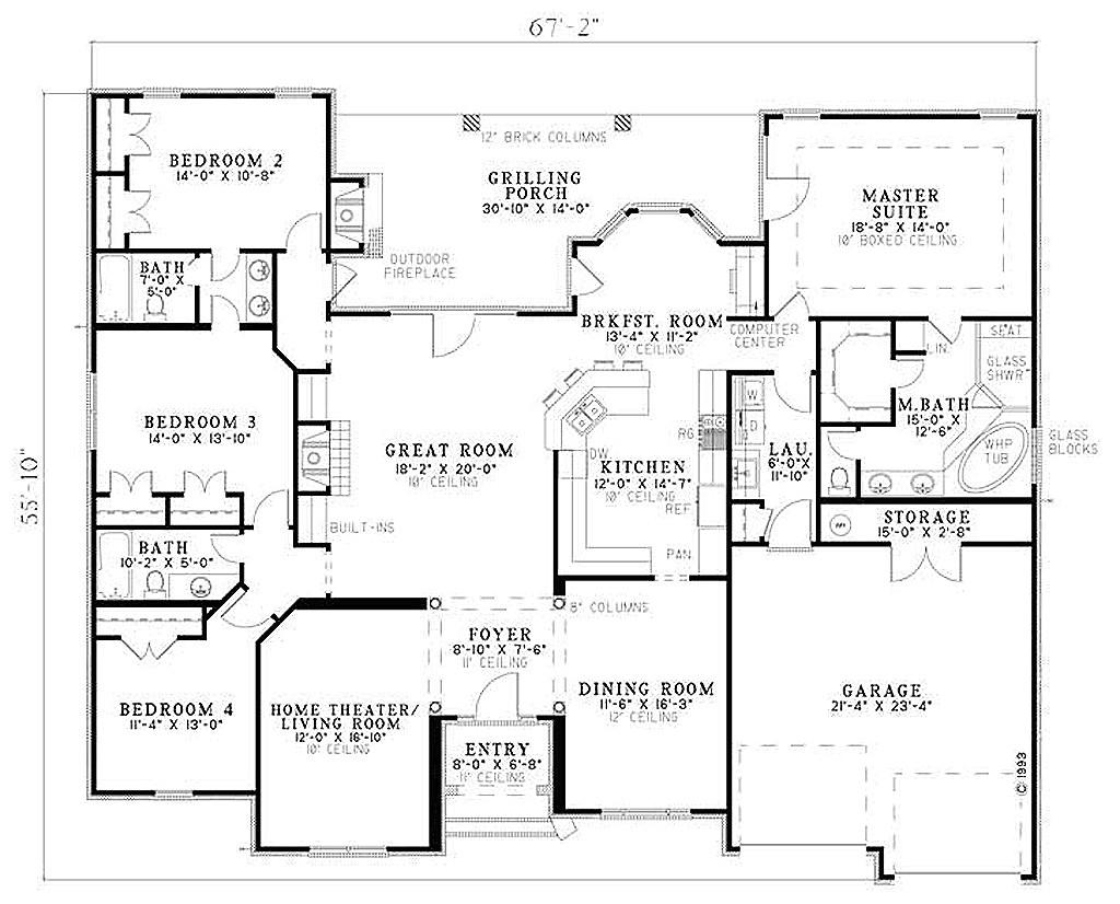 2525 square feet 4 bedrooms 3 bathroom european house plans 2 garage 25550