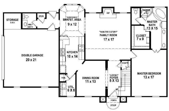 floor plans for a 4 bedroom 2 bath house
