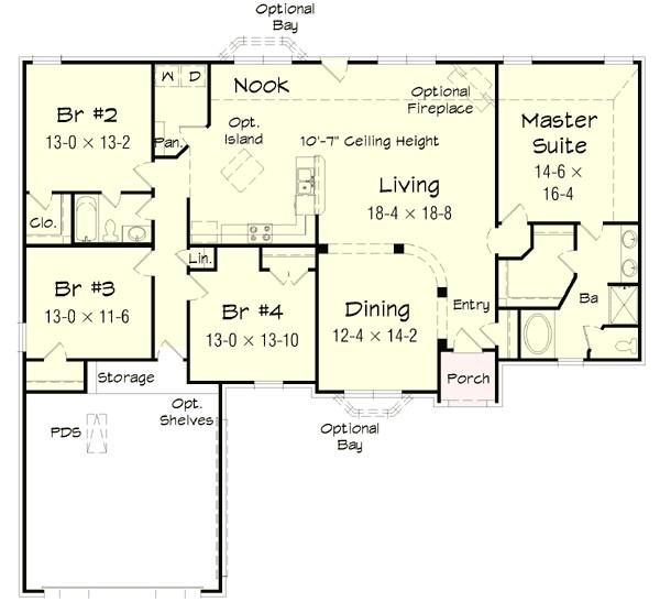 4 bedroom brick ranch home plan 68019hr